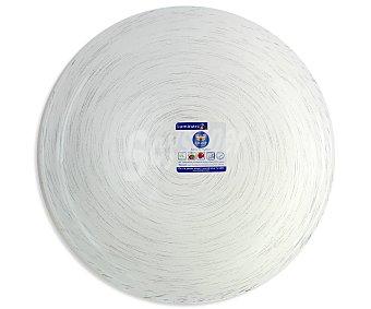 LUMINARC Plato de postre modelo Stonemania de 20.5 centímetros, fabricado en vidrio templado de color blanco y moderno diseño de lineas en espiral 1 Unidad