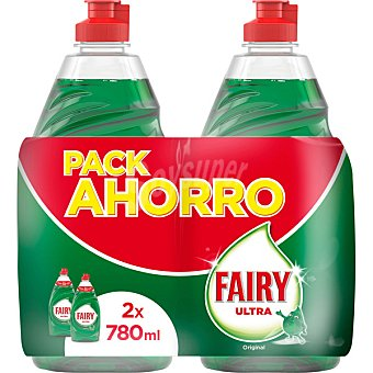 Fairy Ultra lavavajillas a mano concentrado regular pack ahorro Pack 2 botella 780 ml