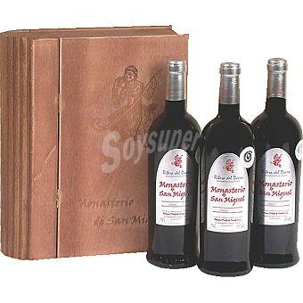 MONASTERIO SAN MIGUEL Vino tinto crianza D.O. Ribera del Duero Estuche libro de madera 3 botellas 75 cl