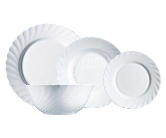 LUMINARC Vajilla de 19 piezas modelo Trianon fabricada en vidrio Opal de color blanco y con diseño clásico redondeado 19 piezas