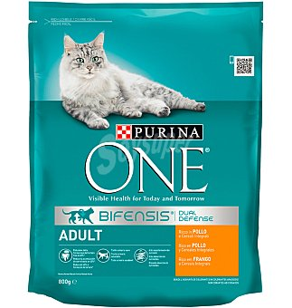 Purina One Comida gato adulto pollo-cereales integrales 800 g