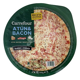 Carrefour Pizza fresca de atún y bacon 400 g