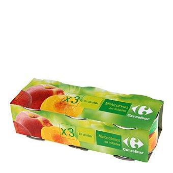 Carrefour Melocotón en almíbar en mitades Carrefour Pack de 3 unidades de 220 g