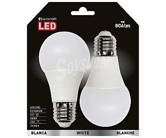 SEVENON Bombillas led esféricas,9 Wattios, casquillos E27 (grueso) luz blanca 2 unidades