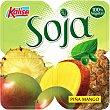 Soja, yogur  de soja con piña y mango sin colesterol sin lactosa  pack 4 unidades 125 g Kalise