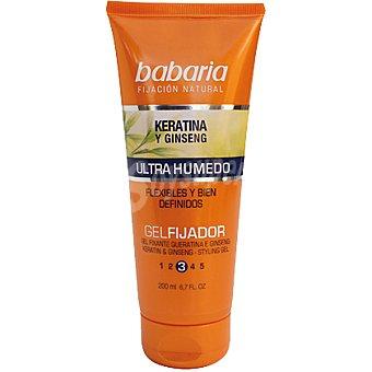 Babaria gel fijador con keratina y ginseng ultra húmedo cabellos flexibles y definidos Tubo 200 ml