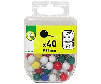 Productos Económicos Alcampo Caja de 40 alfileres memo con cabeza de 10 milímetros para pizarras de corcho y flexibles 40u