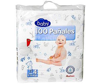 Auchan Pañales Básicos para Niños de 9 a 15 Kilogramos Talla 4 100u