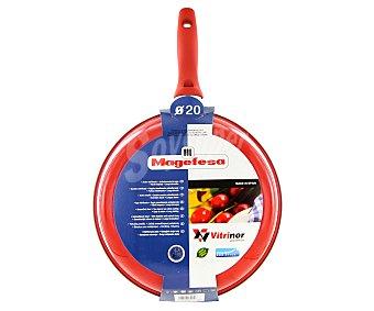 MAGEFESA Sartén modelo Pomodoro de 20 centímetros, con cuerpo de acero vitrificado, mango de silicona y recubrimiento interior antiadherente bicapa 1 Unidad