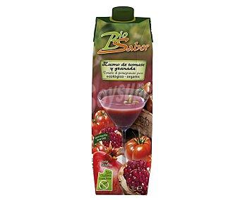 Biosabor Zumo de tomate y granada ecológico sin gluten y sin sal Envase 1 l