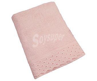 Actuel Toalla de baño 100% algodón color rosa con aplicación bordada, 500g/m², 100x150cm., ACTUEL. 500g