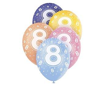 UNIQUE Globos de látex de colores surtidos con número 8 impreso, 12 pulgadas, 30 centímetros 5 unidades