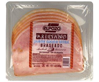 ELPOZO Artesano Jamón cocido braseado de calidad extra, elaborado sin gluten y cortado en lonchas 120 gr