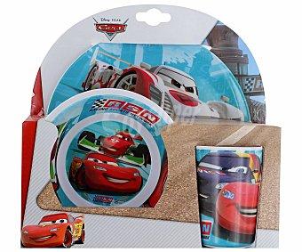 Disney Set de comida con diseño de Cars Racing Sport Network. 1 plato llano, 1 plato hondo y 1 vaso de melamina Set Cars 3 Piezas