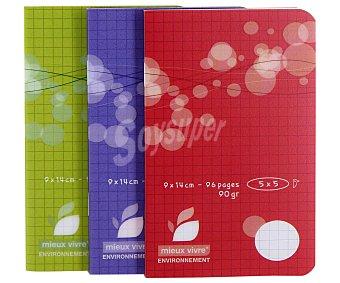 AUCHAN Lote de 3 Libretas Grapadas Cuadrícula de 5 Milímetros 48 Hojas 90x140 Centímetros Pack de 3 Unidades