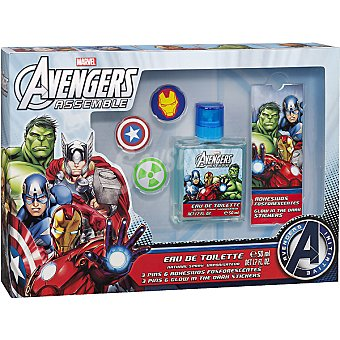 DISNEY2 Avengers Assemble eau de toilette natural infantil + 3 pins + adhesivos fosforescentes Spray 50 ml
