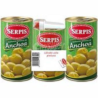 Serpis Aceitunas rellenas de anchoa Pack 3x170 g + Regalo
