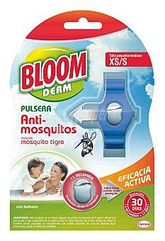 Bloom Derm pulsera repelente de mosquitos Común y Tigre talla pequeña xs/s de 3 a 9 años + 2 pastillas 2 pastillas