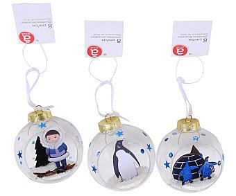 Actuel Bola de 8 centímetros de plástico, abierta y con la figura de un pingüino o un esquimal en su interior actuel. Este producto dispone de distintos modelos o colores. Se venden por separado SE surtirán según existencias 8cm