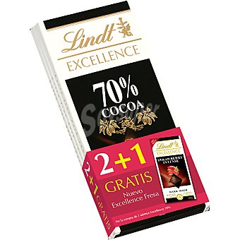 Lindt Chocolate Excellence negro 70 % cacao con regalo de chocolate negro con trocitos de fresa  pack 2 tableta 100 g
