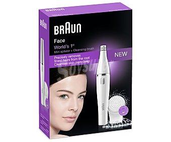 BRAUN FACE 810 Depiladora facial y cepillo de limpieza facial uso en seco y húmedo, cabezal de depilación fino, alimentación con pila