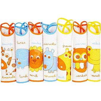 FORCADA set de baberos semanario de rizo plastificado colores surtidos de 6 a 12 meses