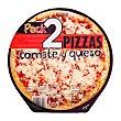 Pizza congelada tomate y queso Paquete 2 u Hacendado