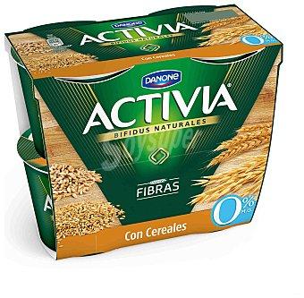 Activia Danone Yogur con fibra y cereales 0% Pack 4 x 125 g