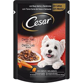 CESAR Delicias en salsa con buey y zanahorias para perro  Envase de 100 g