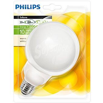 Philips (88 W) lámpara ahorro blanco cálido casquillo E27 (grueso) 230 V Softone Globo 20 W 1 unidad
