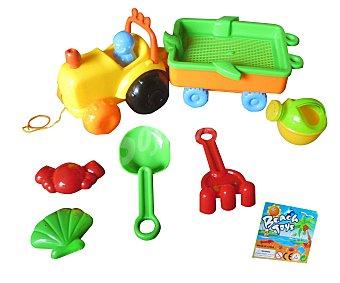 EURASPA Conjunto de juguetes de playa compuesto por un tractor con su remolque + 5 accesorios 1 unidad