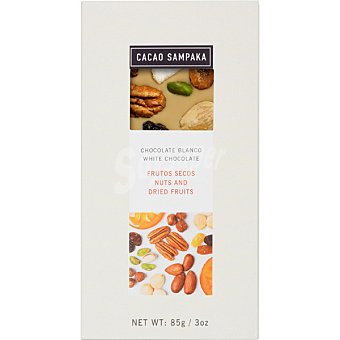 CACAO SAMPAKA Chocolate blanco con frutos secos tableta 85 g tableta 85 g