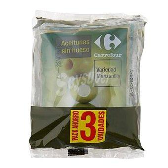 Carrefour Aceitunas verdes manzanilla sin hueso Pack 3x75 g