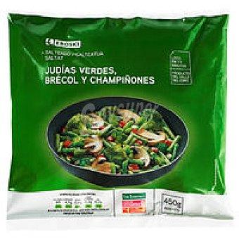 Eroski Salteado de judías-brócoli-champiñones Bolsa 450 g