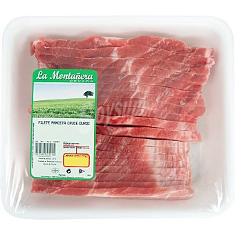 LA MONTAÑERA Panceta de cerdo en filetes bandeja familiar peso aproximado 1 kg
