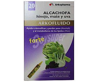 ARKOFLUIDO Complemento alimenticio a base de alcachofa, hinojo, mate y uva, 20 Ampollas