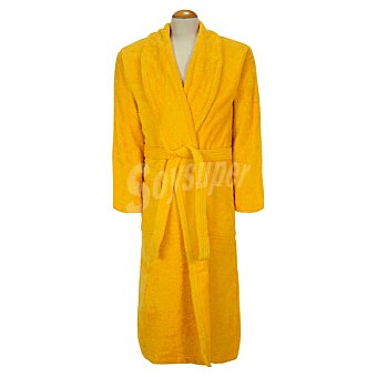 CASACTUAL  Albornoz adulto talla L de rizo americano color amarillo 1 Unidad