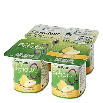 Carrefour Yogur bífidus desnatado con trozos de pera Pack de 4 unidades de 125 g