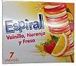 Helado espiral vainilla, naranja y fresa Caja 7 unidades Palo
