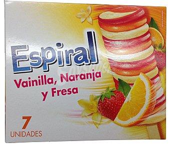 Palo Helado espiral vainilla, naranja y fresa Caja 7 unidades