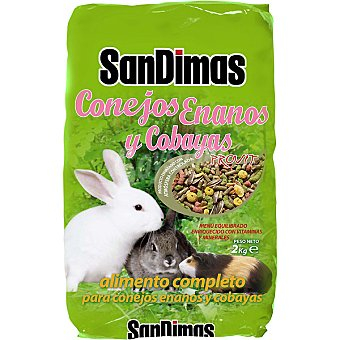San Dimas Alimento completo para conejos enanos y cobayas Paquete 2 kg