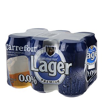 Carrefour Cerveza lager sin alcohol 0,0% Pack de 6x33 cl