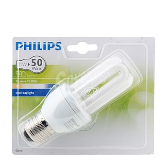 Philips Bombilla larga duración 8A 11W E27 luz fría