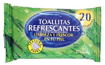 Deliplus Toallitas humedas refrescantes textura papel Paquete 20 u