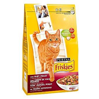 Friskies Purina Comida para gatos con Buey, Pollo y Hígado 4 kg