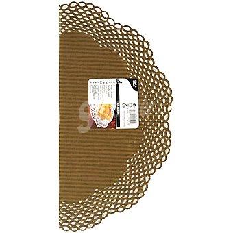 Papstar Blonda redonda de rayas color moca y oro 23 cm Paquete 4 unidades