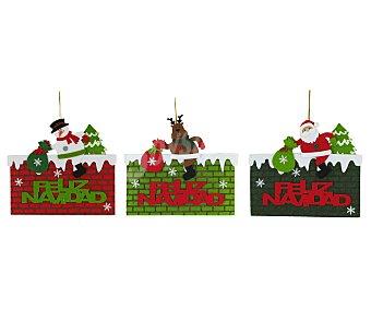 """Noel art Cartel de 25 x 24 centímetros con la frase """"Feliz Navidad"""" impresa en un muro de ladrillos que simula una chimenea y con figuras navideñas encima NOEL ART. Este producto dispone de distintos modelos o colores. Se venden por separado SE SURTIRÁN SEGÚN EXISTENCIAS"""