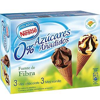 Helados Nestlé Miniconos de helado sin azúcares añadidos sabores vainilla y chocolate 3 unidades estuche 420 ml 3 uds