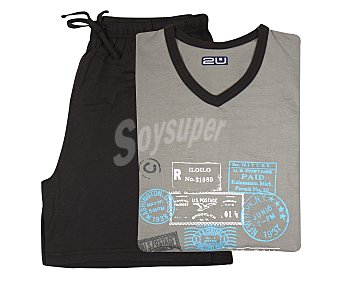 2U Pijama con camiseta de manga corta y pantalón corto color gris, talla M