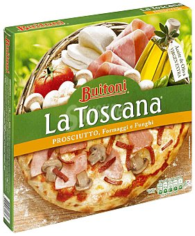 Buitoni Pizza toscana con jamón queso y champiñón 370 gramos